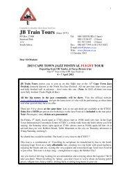 2013 cape town jazz festival flight tour - JB Train Tours