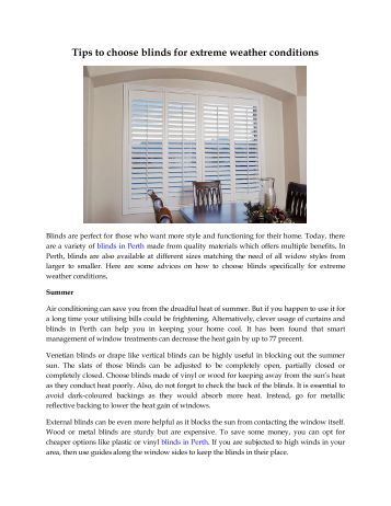 Tips to choose blinds for extreme weather conditions
