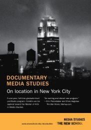 DOCUMENTARY MEDIA STUDIES - The New School