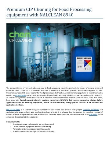 Premium CIP Cleaning for Food Processing equipment with NALCLEAN 8940