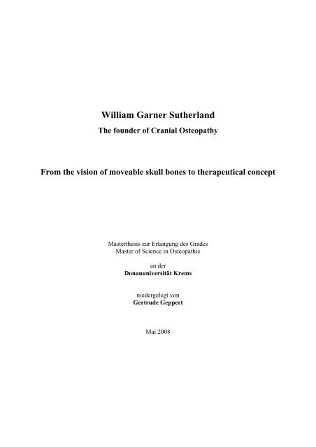 William Garner Sutherland Osteopathic Research It is an articulation of the sphenoid with the occiput. william garner sutherland osteopathic