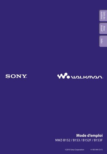 Sony NWZ-B153F - NWZ-B153F Consignes d'utilisation Français