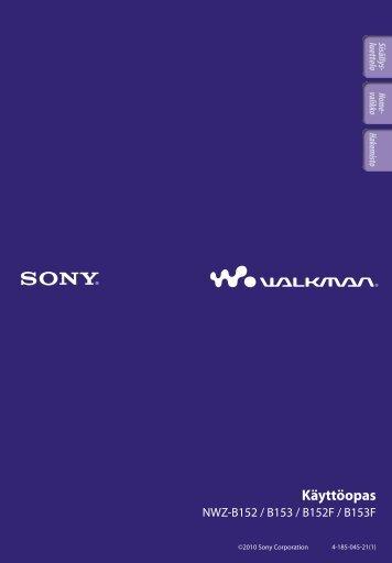 Sony NWZ-B153F - NWZ-B153F Consignes d'utilisation Finlandais