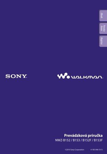 Sony NWZ-B153F - NWZ-B153F Consignes d'utilisation Slovaque