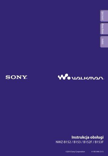 Sony NWZ-B153F - NWZ-B153F Consignes d'utilisation Polonais