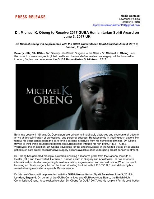 Dr  Michael K  Obeng to Receive 2017 GUBA Humanitarian Spirit Award