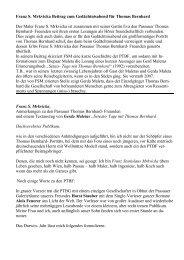 Verehrtes Publikum, - Passauer Thomas Bernhard Freunde