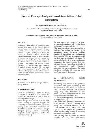Formal Concept Analysis Based Association Rules Extraction - arXiv