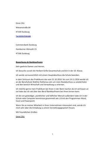 bewerbung - Bewerbung Fr Praktikum Schler