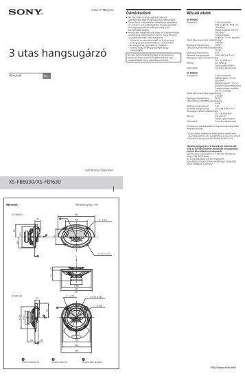 Sony XS-FB1630 - XS-FB1630 Istruzioni per l'uso Ungherese