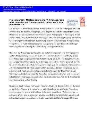 Mieterverein 2.10.2009 - Stadtpolitik Heidelberg