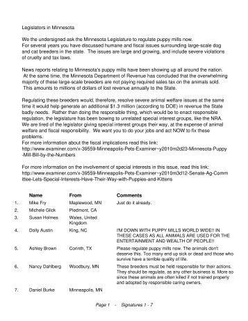 Legislators in Minnesota We the undersigned ask the ... - Animal Ark