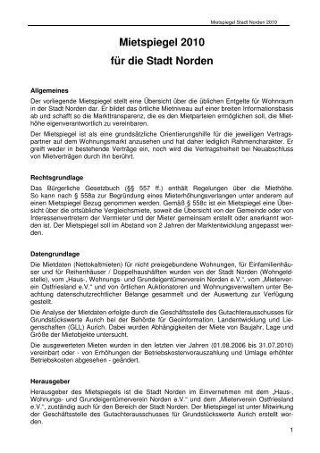 Mietspiegel 2010 für die Stadt Norden - Nordsee Immobilien