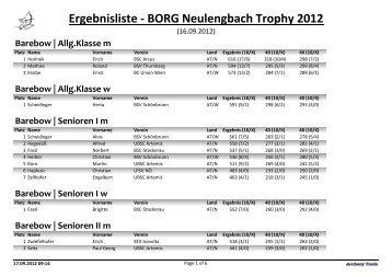 Ergebnisliste - BORG Neulengbach Trophy 2012