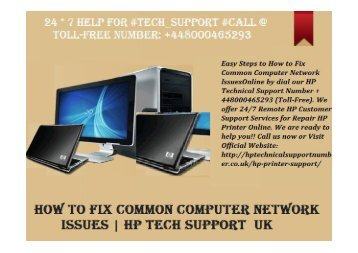 How to Fix Common Computer Network Issues? HP Tech   Support Number UK