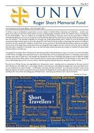 Roger Short Memorial Fund Newsletter 10 - 2017