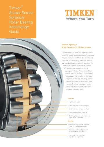 Timken Shaker Screen Spherical Roller Bearing Interchange Guide