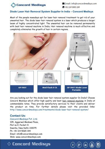 Diode Laser Hair Removal System Supplier In India – Concord Medisys