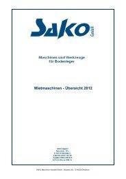 SAKO Mietmaschinen-Übersicht 2012 - sako-gmbh.de