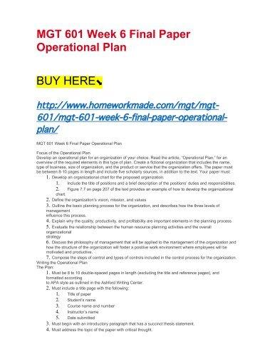 MGT 601 Week 6 Final Paper Operational Plan