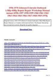 johnson evinrude 1956 1970 workshop service repair manual