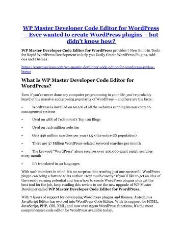 WP Master Developer Code Editor for WordPress Review & (Secret) $22,300 bonus