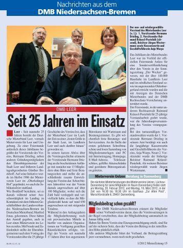 Seit 25 Jahren im Einsatz - DMB-Niedersachsen-Bremen e.V