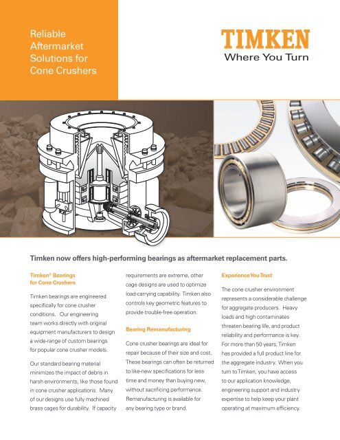 Reliable Aftermarket Solutions for Cone Crushers - Timken
