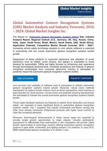 Global Automotive Gesture Recognition Systems (GRS) Market Analysis and Industry Forecasts, 2016 – 2024