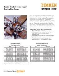 Double-Row Ball Screw Support Bearing Interchange - Timken