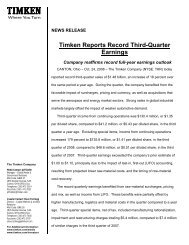 Timken Reports Record Third-Quarter Earnings