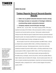 Timken Reports Record Second-Quarter Results