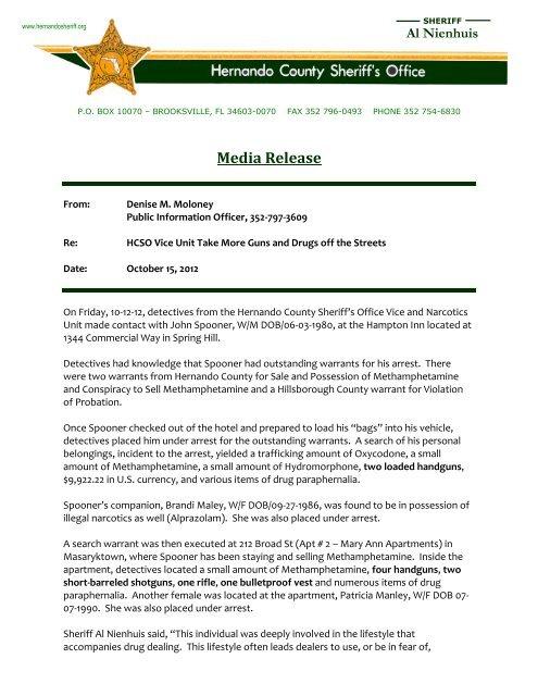 Hernando County Arrests Warrants