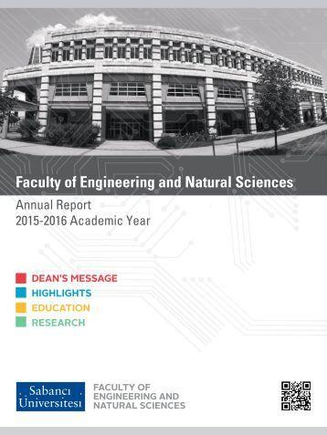 SABANCI UNIVERSITY FENS ANNUAL REPORT 2015-2016