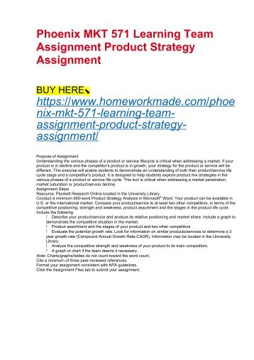 Phoenix MKT 571 Learning Team Assignment Product Strategy Assignment