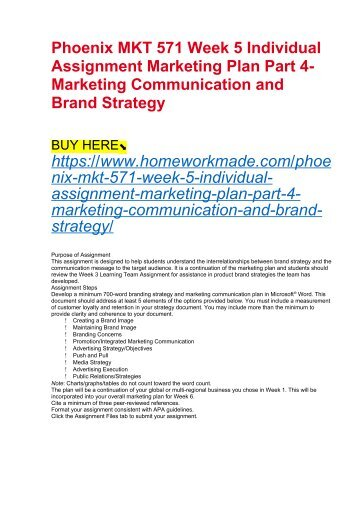 Phoenix MKT 571 Week 5 Individual Assignment Marketing Plan Part 4- Marketing Communication and Brand Strategy