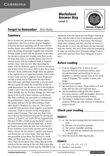 Worksheet Answer Key - Cambridge University Press