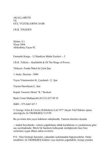 Akallabeth ve Guc Yuzuklerine Dair - J. R. R. Tolkien