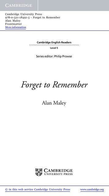 Forget to Remember - Cambridge University Press
