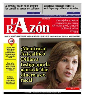 Diario La Razón miércoles 26 de abril de 2017