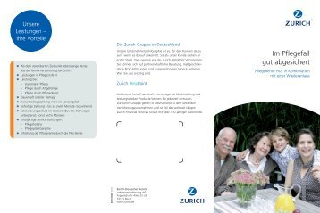 Im Pflegefall gut abgesichert - Zürich Versicherung