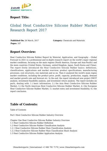 Global Heat Conductive Silicone Rubber Market Research Report 2017