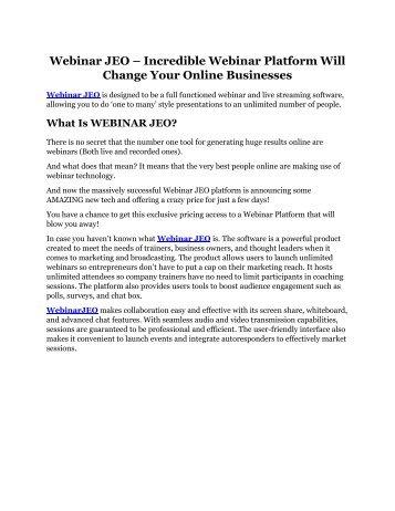 Webinar JEO review - Get $15900 free bonuses now!