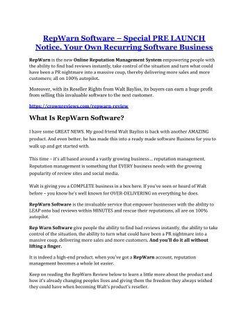 RepWarn review - 65% Discount and FREE $14300 BONUS