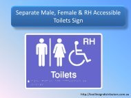 Separate Male, Female & RH Accessible Toilets Sign