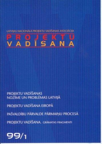 """Žurnāls """"Projektu vadīšana"""" Nr.1999/1"""