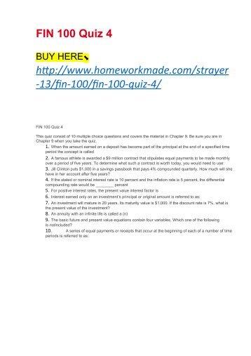 FIN 100 Quiz 4