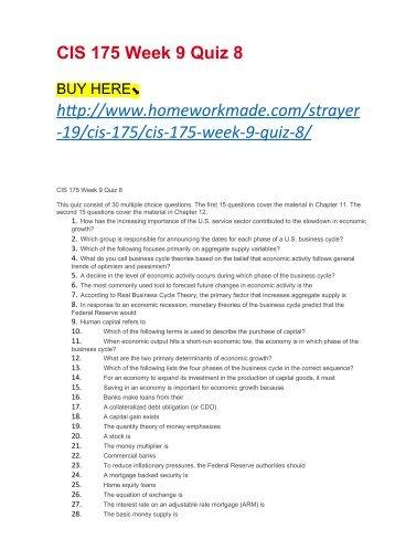 CIS 175 Week 9 Quiz 8