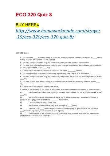 ECO 320 Quiz 8