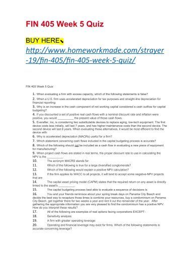FIN 405 Week 5 Quiz
